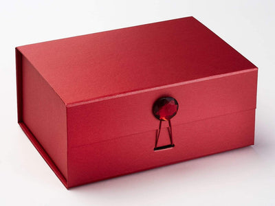 Ruby Gemstone Closure on Red A5 Deep Gift Box