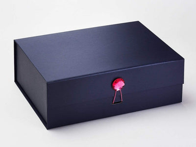 Pink Spinel Gemstone Gift Box Closure on Navy A4 Deep Gift Box