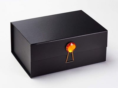Orange Zircon Gemstone Gift Box Closure on Black A5 Deep Gift Box