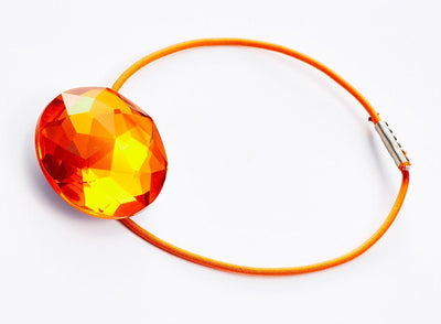 Sample Orange Zircon Gemstone Gift Box Closure with Orange Elastic