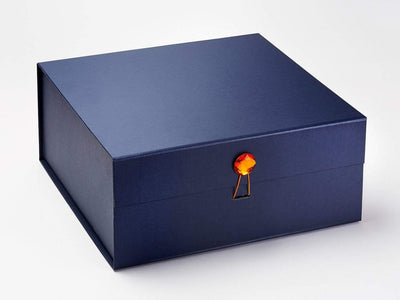 Orange Zircon Gemstone Gift Box Closure with Navy XL Deep