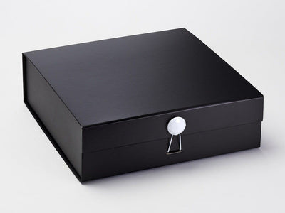 Black Luxury Gift Box Featuring White Facet Dome Closure