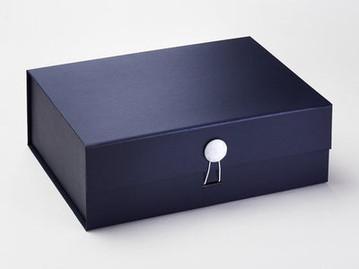 Navy Blue A4 Deep Gift Box Featured with White Facet Dome Closure