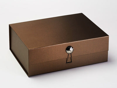 Bronze Luxury Folding Gift Box Featured with Pyrite Facet Gemstone Closure