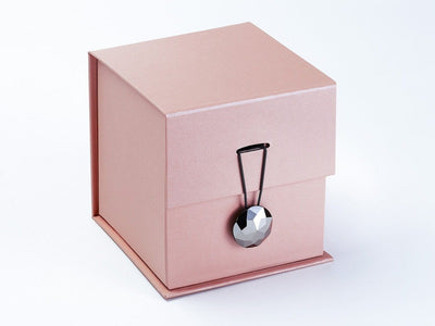Rose Gold Large Cube Featured with Pyrite Facet Gemstone Closure