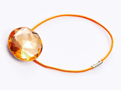 Morganite Gemstone Gift Box Closure with Orange Elastic