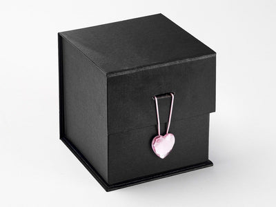 Black Large Cube Gift Box Featured with Rose Quartz Heart Gemstone Closure