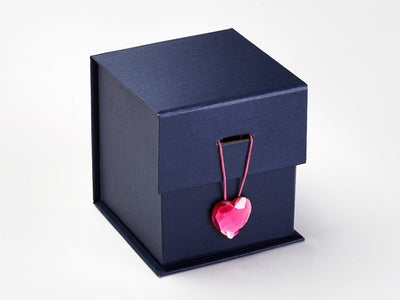 Navy Blue Cube Gift Box Featured with Pink Spinel Heart Gemstone Closure