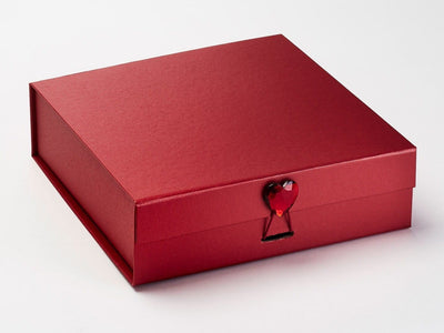 Large Red Gift Box Featured with Ruby Heart Gemstone Closure