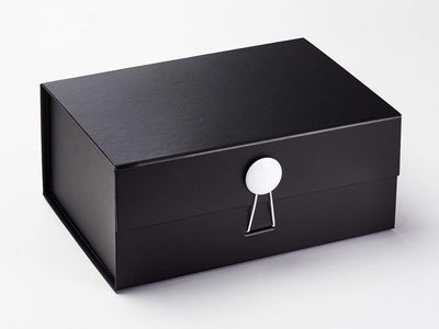 White Gloss Smooth Dome Gift Box Closure on Black A5 Deep