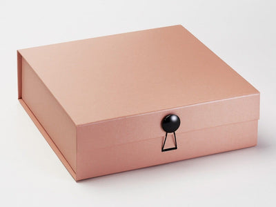 Rose Gold Large Gift Box Featuring Black Gloss Dome Decorative Closure