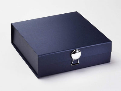 Silver Dome Gift Box on Navy Blue Medium Gift Box