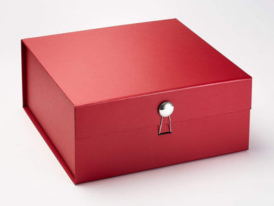 Silver Dome Gift Box Closure on Red XL Deep Gift Box