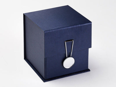 Navy Blue Cube Gift Box Featured with Mirror Disc Closure