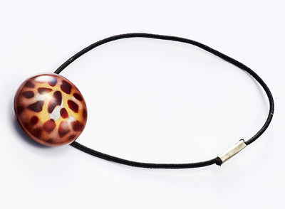 Leopard Print Smooth Dome Gift Box Closure with Elastic Loop