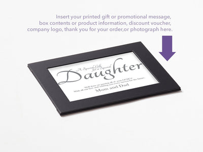 Black Photo Frame Assembled with Example of Your Custom Printed Insert