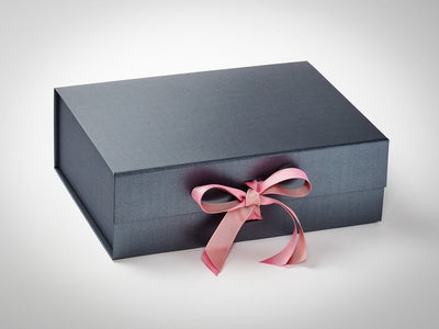 Pewter A4 Deep Gift Box with Wild Rose and Antique Mauve Double Ribbon