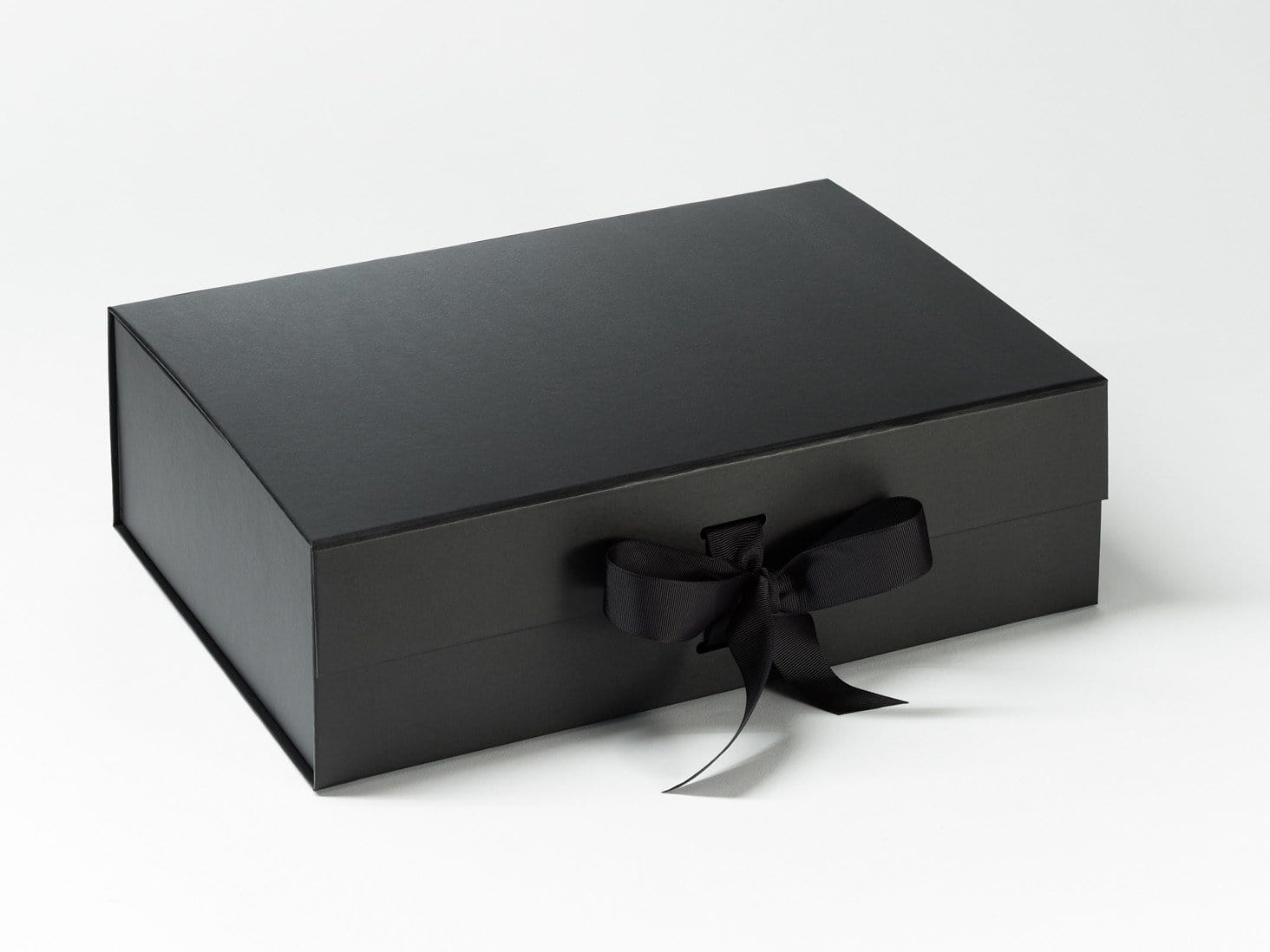Black A4 Deep Folding Magnetic Closure Gift Box with changeable ribbon from Foldabox