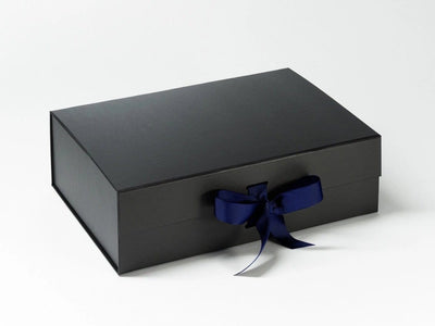 Black A4 Deep Folding Gift Box with Cobalt Blue Ribbon from Foldabox UK