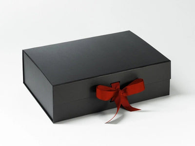 Black A4 Deep Folding Gift Box with Bright Red Ribbon from Foldabox UK