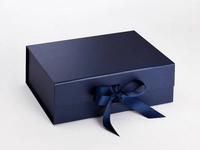 A4 Deep Navy Blue Folding Gift Box with Changeable Ribbon