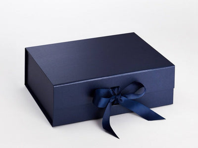 Navy Blue A4 Deep Folding Luxury Gift Box with Changeable Ribbon