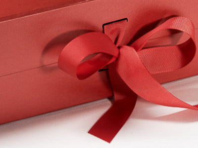 Red A4 Deep Folding Gift Box Sample ribbon detail