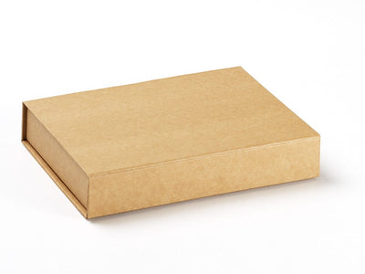 A4 Shallow Natural Kraft Folding Gift Box Sample from Foldabox