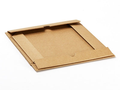 A4 Shallow Natural Kraft Gift Box Folded Flat from Foldabox
