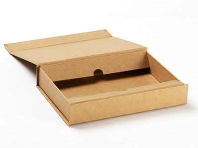 A4 Shallow Natural Kraft Gift Box Showing Inner Double Flap Assembly Function from Foldabox UK