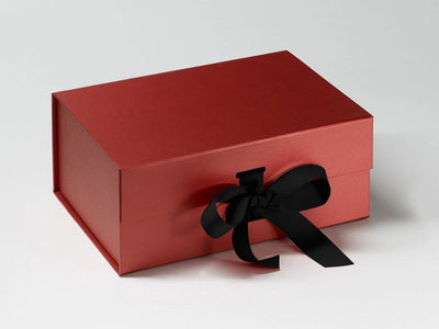 Red Pearl A5 Deep Gift Box with Slots and featuring Black Ribbon