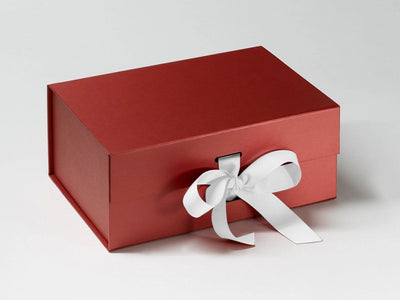 Red Pearl A5 Deep Gift Box with Slots featuring White Ribbon
