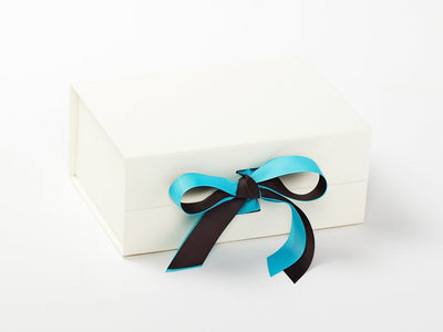 Ivory Gift Box Featuring Misty Turquoise and Licorice Double Ribbon Bow