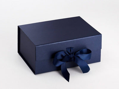 A5 Deep Navy Blue Folding Gift Box with Changeable Ribbon