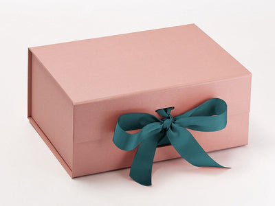 Rose Gold A5 Deep Gift Box Featured with Jade Ribbon