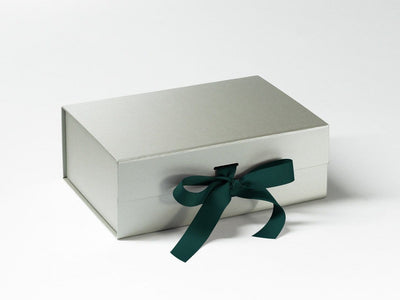 Silver A5 Deep Slot Gift Box Featured with Spruce Green Ribbon