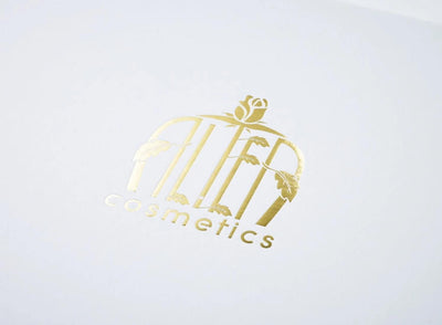 White Folding Gift Box with Gold Foil Printed Logo to Lid