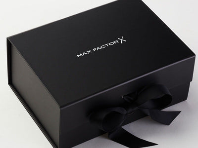 Black A5 Deep Gift Boxes with fixed grosgrain ribbon