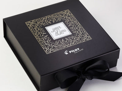 Black Large Gift Box with Custom 1 Colour Foil Print Design to Lid