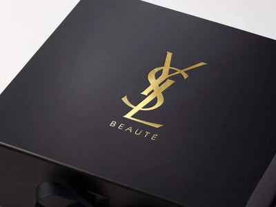 Black Luxury Gift Box with Custom Gold Foil YSL Logo print