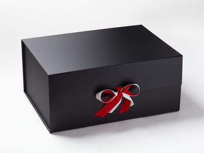 Black A3 Deep Gift Box Featured with Bright Red and White Ribbon
