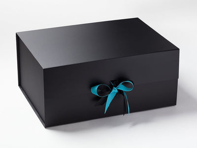 Misty Turquoise and Black Double Ribbon Bow on Black A3 Deep Gift Box