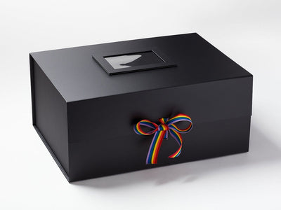 Black A3 Deep Gift Box with Rainbow Stripe Ribbon and Photo Frame