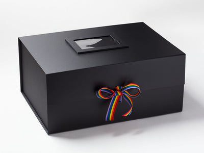Rainbow Ribbon Featured on A3 Deep Gift Box with Photo Frame