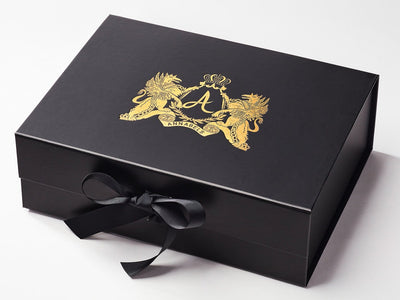 Black A4 Deep Gift Box with Custom Gold Foil Printed Design
