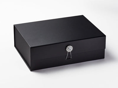Black Gift Box with Diamond Flower Gemstone Gift Box Closure