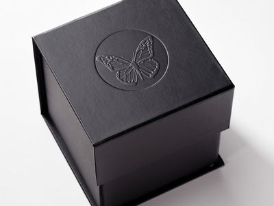 Black Cube Gift Box with Custom Debossed Logo to Lid