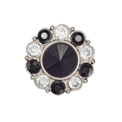 Black and White Diamond Flower Gemstone Gift Box Closure