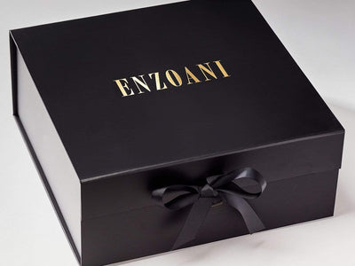 Black XL Deep Gift Box with Custom Gold Foil Logo