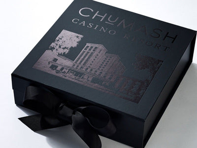 Black Folding Gift Box with Large Area Custom Black Foil Design to Lid